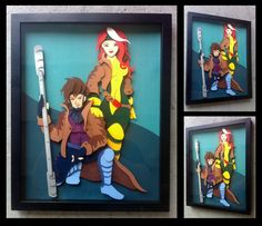 Commission: Rogue + Gambit Shadowbox by The-Paper-Pony.deviantart.com on @deviantART