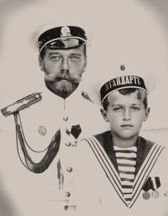 Nicholas II and Alexei ! Alexei's mother and father were both grandchildren of Queen Victoria, a carrier of the genetic blood disorder known as Hemophilia, but only his mother could transmit the disease through her female mitochondrial DNA. It is not transmissible by male ancestors. All of his sisters would have been carriers of the disorder should they have ever married.