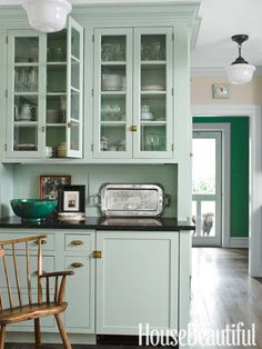 Green Shaker style kitchen view 2 - 'Theresa's Green' from Farrow & Ball