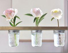 Mason Jar Flower Shelf - Mason Jar Crafts Love
