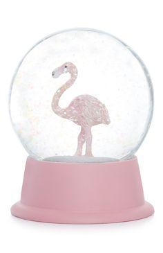 Globo de neve flamingo rosa e branco