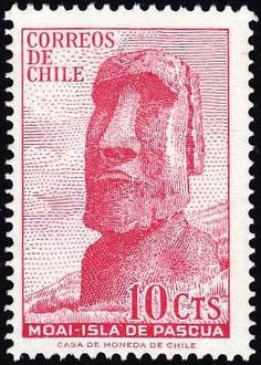 Moai , monolithic human figures carved by the Rapa Nui people on the Chilean Polynesian island of Easter. Island Republic of Chile Old Stamps, Envelope Art, Easter Island, First Day Covers, Tampons, Fauna, Stamp Collecting, Mail Art, My Stamp