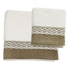 Would love a hand towel like this in the bathroom! Towel, with linen and lace.