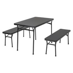 Cosco 3-Piece Indoor Outdoor Table and 2 Bench Tailgate Set, Multiple Colors, Black