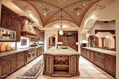 Luxury Kitchen Mediterranean Kitchen - Come find more on Zillow Digs! Huge Kitchen, House Design, House, Mediterranean Kitchen, Mediterranean Kitchen Design, Luxury Homes, Mediterranean Homes, Ceiling Fan In Kitchen, Luxury Kitchen Design