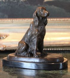 English Irish Gordon Setter Dog Bronze Marble Statue Sculpture Collectible Art