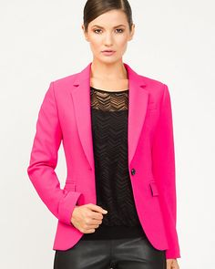 Double Weave Boyfriend Blazer - In Black for the interview. will come back for the pink one if I get the job! I Got The Job, Style Masculin, Boyfriend Blazer, Acrylic Flowers, Project Runway, All You Need Is Love, Weaving, My Style, Pink