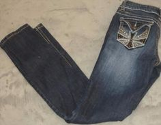 12.19$  Buy here - http://viqdn.justgood.pw/vig/item.php?t=hyycqlr27465 - REQUEST Jeans Womens Juniors 3/26 Distressed Thick Stitching Cross Studs Stretch