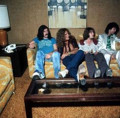 Led Zeppelin-One of the best bands...EVER! I love this photo, they're just hanging out in someone's 1970s  style living room. So freakin' cool! I sure miss the 70s!