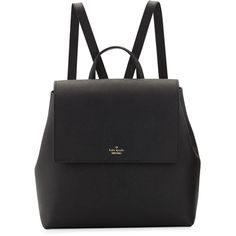 Kate Spade New York cameron street neema leather backpack (£220) ❤ liked on Polyvore featuring bags, backpacks, backpack, black, expandable backpack, flap backpack, leather bags, leather daypack and kate spade
