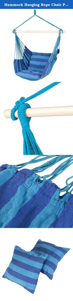 Hammock Hanging Rope Chair Porch Swing Seat Patio Camping Portable Blue Stripe. Best Choice Products presents you this brand new Blue Stripe hammock chair. This hammock is made of cotton and polyester fabric for maximum comfort. The included 40-inch hardwood spreader bar keeps this hammock sturdy and able to withstand up to 265 lbs. It comes with two seat cushions that provide you extra comfort and relaxation. Hang this on a hammock stand or tree for both indoor and outdoor use. Swing…