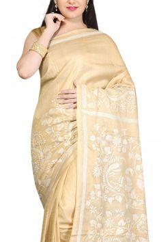 Buy Online Chiku White Thread Nakshi Kantha Tussar Silk Saree . India's Best Ethnic Wears & Wares www.EthnicKart.com