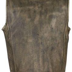 Mens Brown Distressed Motorcycle Jacket Club Vest