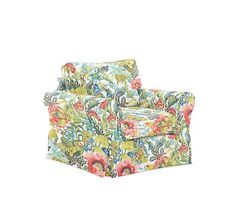 PB Comfort Roll Arm Slipcovered Swivel Armchair, Box Edge Polyester Wrapped Cushions, Lyla Floral Multi