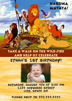 Simba Lion King Birthday Invitation By FreshInkStationery On Etsy - Lion king birthday invitation template free