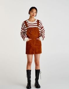 Corduroy pinafore dress - Dresses - Clothing - Woman - PULL&BEAR Taiwan