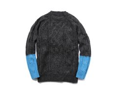 Uniform Experiment - Color Block Sleeve Fisherman Crew Neck Knit