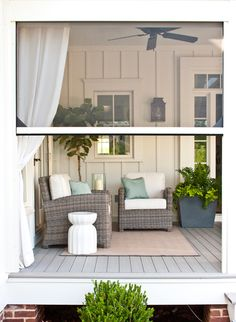 Enclosed Porch | Smart Indoor-Outdoor Living Design Ideas | House & Home | Sponsored by Phantom Screens | These custom-made retractable screens keep bugs out of your home while letting fresh air in — perfect for windows, doors and large openings. | #patio #porch #summerstyle #outdoorliving