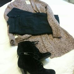 Old Navy brown sweater Longer sweater.  Very cute with boots.  Listing for sweater only.  Black skinny jeans also available in my closet.  See listing.  Can bundle! Old Navy Sweaters