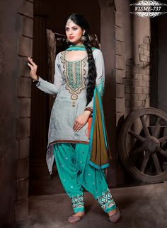 Shonaya Gray Designer Embroidered Silk Cotton Dress Material