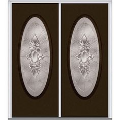 Milliken Millwork 64 in. x 80 in. Heirloom Master Left-Hand Large Oval Classic Painted Fiberglass Smooth Prehung Front Door, Brown