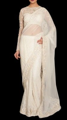 A white color sari in soft nylon net