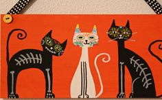Halloween Sugar Skull and Skeleton Cats  by MaxMinnieandMe on Etsy, $17.00