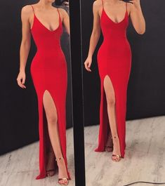 Red Mermaid Prom Dresses with Spaghetti Straps, Red Floor Length Mermaid Evening Formal Dresses Source by wunderstill dress Formal Evening Dresses, Elegant Dresses, Pretty Dresses, Sexy Dresses, Beautiful Dresses, Long Dresses, Red Formal Dresses, Summer Dresses, Formal Outfits