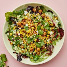 Corn & Chickpea Bowl with Miso-Jalapeño Tahini Recipe | Bon Appétit Summer Vegetarian Recipes, Summer Recipes, Healthy Recipes, Vegetarian Meals, Chickpea Recipes, Healthy Dishes, Veggie Recipes, Asian Recipes, Tahini Recipe