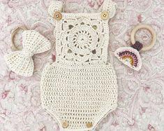 Infant Rompersummer | Etsy Crochet Romper, Crochet Jacket, Crochet Baby, Crochet Bikini, White Trim, Long Tops, Rose Buds, Baby Fever, Hot Pink