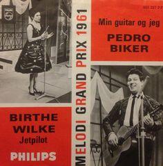 Jetpilot - Birthe Wilke. Min guitar og jeg - Pedro Biker.  Begge fra Dansk Grand Prix 1961.