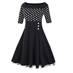 Women's+Casual/Daily+Sophisticated+Sheath+Dress,Polka+Dot+Boat+Neck+Midi+½+Length+Sleeve+Cotton+Polyester+Black+Spring+Mid+Rise+–+USD+$+24.99