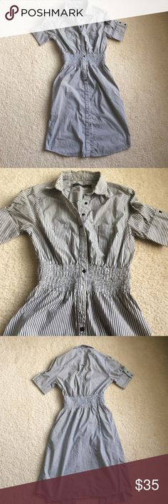 """Zara Basic striped shirt dress Zara Basic shirt dress • gray & white striped • two chest pockets • side pockets perfectly intact • Sz M but fits a S/M • armpit measurements 15.5"""" • length 37.5"""" • excellent condition Zara Dresses"""