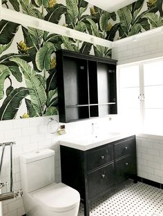 bathroom wallpaper Jungle Palm Wallpaper designed by Kingdom Home and available at Milton amp; Bathroom Renos, Bathroom Interior, Small Bathroom, Bathroom Ideas, Master Bathroom, Bathroom Organization, Remodel Bathroom, Palm Tree Bathroom, Tropical Bathroom Decor