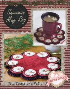 """Snowman Mug Rug: Create a little rug especially for your favorite mug! This little coaster features nine little snowmen faces, all stitched in wool applique and hand embroidery. Pattern includes all instructions for the 6"""" round project."""