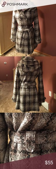 """BKE WINTER COAT, size M, Hooded, Belted, Darling BKE winter coat from Buckle store in size medium, grey, black and silver running through, large crystal buttons, has hood and belt, warm, but not overkill ! 30"""" length, covers rear plus, 24-25"""" sleeve length , across 15"""" top,, in good condition has been worn some, saved for special, my favorite BKE Jackets & Coats Pea Coats"""