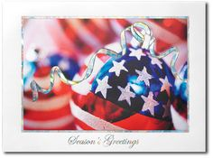 Patriotic Ornaments Holiday Cards Red White and Blue Stars and Stripes - by THE OFFICE GAL