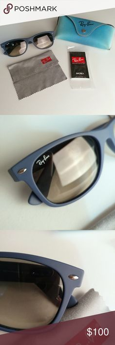 d3ad7ecea1a Like new gorgeous blue Ray-Ban New Wayfarers Ray-Ban New Wayfarer sunglasses  with matte blue frame. Like new