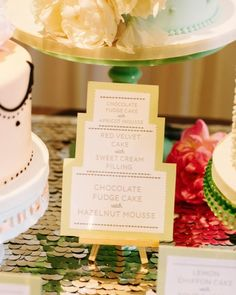 DIY cake-shaped signage for a dessert table full of sweets