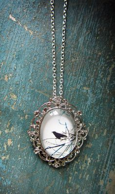 Raven Necklace Crow Jewelry Silver Bird -- beautiful!