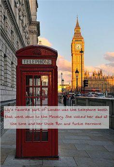 Harry Potter Next Generation Character Confessions - La parte favorita de Lily de Londres era la cabina telefónica para bajar al Ministerio. Visitaba a su padre todo el tiempo y a su tío Ron y su tía Hermione. (Nada me pertenece yo solo traduzco by: shipergirl)