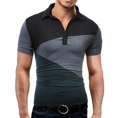 59656bc48 Mens Summer Cotton Hit Color Short Sleeve Turn-down Collar Slim Fit Polo  Shirt Black