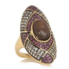 Rarities Carol Brodie Chocolate Sapphire and Gemstone Vermeil Ring Size 10 #RaritiesFineJewelrywithCarolBrodie #Solitaire