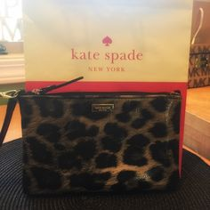 Kate Spade leopard wristlet flash sale today Excellent shape for this leopard embossed wristlet. Kate Spade Bags Clutches & Wristlets