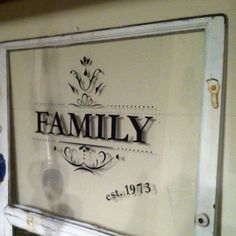 Just an old window with vinyl letters. Planning on hanging by a cute curtain rod in my bathroom window.