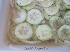 I'm sure many of you have made this simple dish. My mother and grandmother always had Sliced Cucumbers and Onions in Vinegar in the refri...