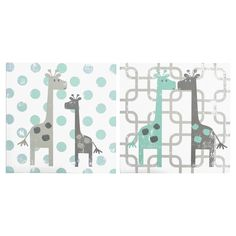 """This set of 2 embellished canvas art features the giraffe and geometric patterns found in the Uptown Giraffe crib bedding set.  Each canvas measures 12""""x12"""" adding a decorative touch to the wall that brings the room together.  Look for other items in the Uptown Giraffe nursery collection by The Peanut Shell."""