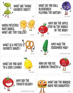 Funny Food Jokes to print and share! These printable food jokes are super corny and will fill you up with laughter! Print these funny food jokes on cardstock in color and cut them apart and slip them into your child's lunch. Funny Food Jokes, Funny Jokes For Kids, Funny Jokes To Tell, Silly Jokes, Food Humor, Dad Jokes, Food Puns, Hilarious Jokes, Food Riddles