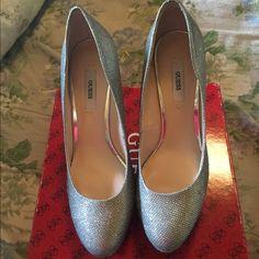Guess silver heels Light wear sparkle heels guess brand Guess Shoes Heels