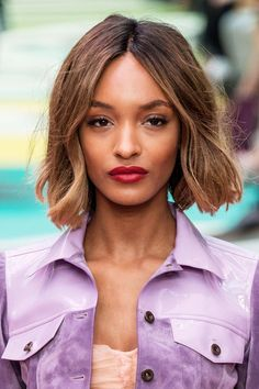 Jourdan Dunn's bob falls in that sweet spot above the shoulders and below the chin, which is perfect if your neck is on the longer side.